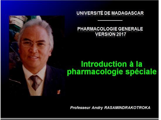 Introduction à la Pharmacologie spéciale 1